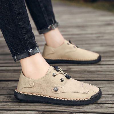 Men's Hand Stitching Leather Non-slip Casual Shoes