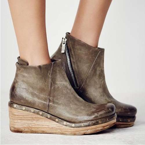 Women Vintage Zipper Wedges Clog Ankle Boots