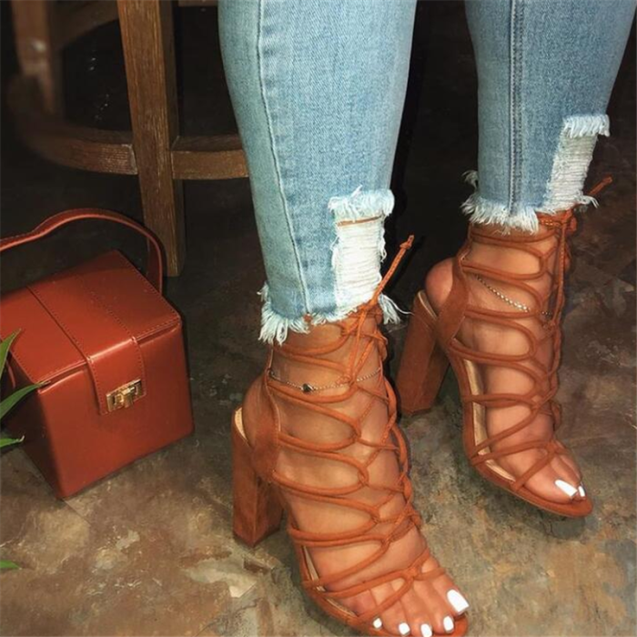 Lace-Up Open Toe Chunky Heel Strappy Plain Sandals