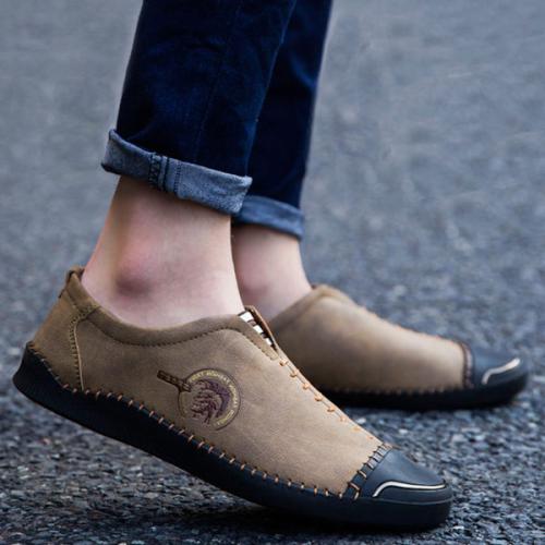 Men's Colorblock Matte Flat Shoes
