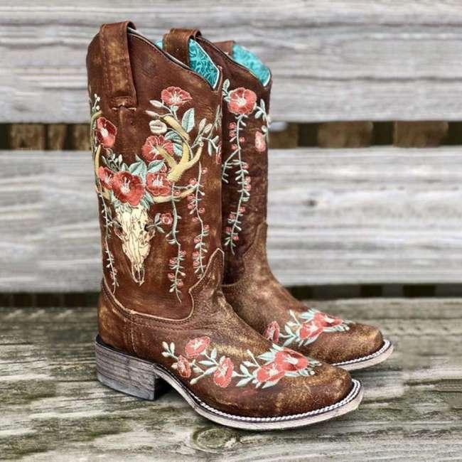 Square Toe Color Block Slip-On Block Heel Casual Thread Boot