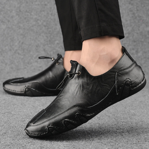 Men Genuine Leather Non Slip Elastic Lace Casual Driving Shoes