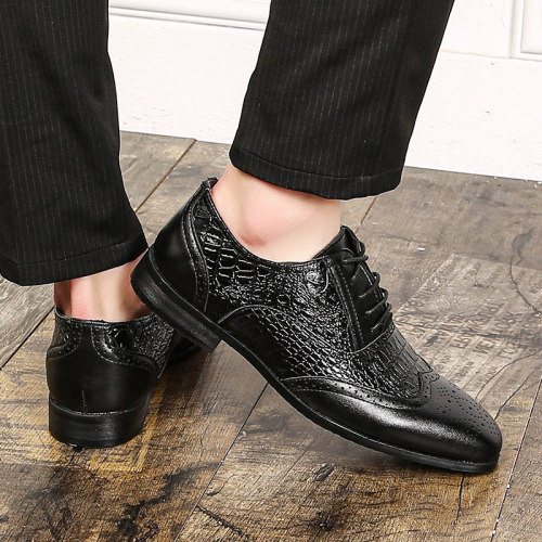 Men Leather Shoes Snake Skin Prints Pointed Toe Shoes