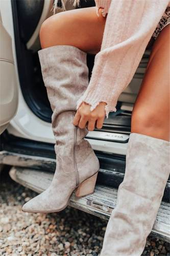 NEW! Women's Suede Chunky Heel Martin Boots Pointed Toe With Ruched Zipper shoes