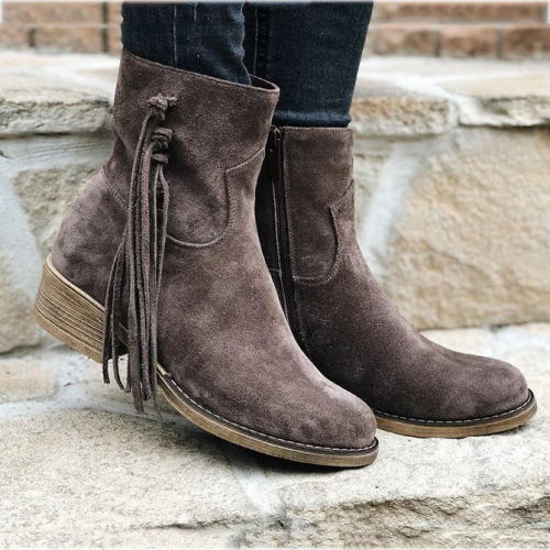 Imitation Suede Winter Tassel Ankle Boot