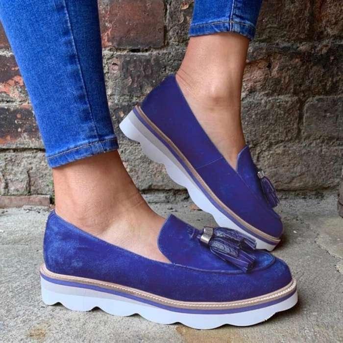Women Suede Tassel Slip On Platform Loafers