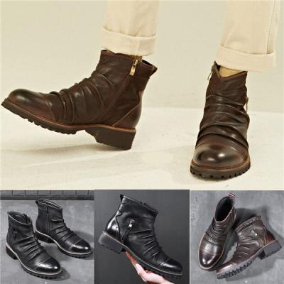 Men's High-Top Side Zipper Desert Tools Shoes Outdoor Boots