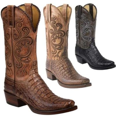 Vintage Men's Back Cut Cowboy Boots PU Western Square Toe Boot