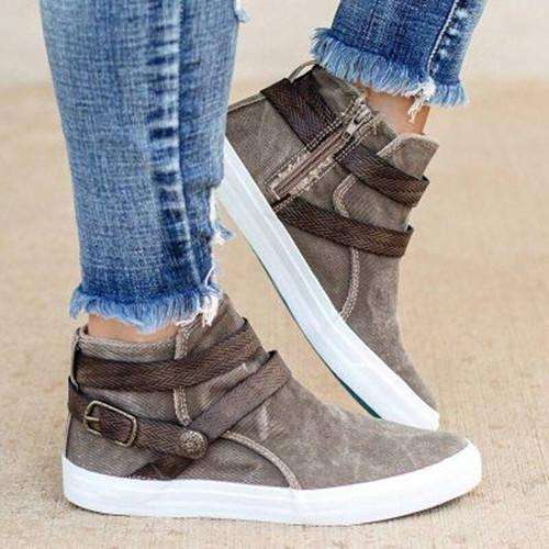 Women Casual Buckle Flat Heel Sneakers