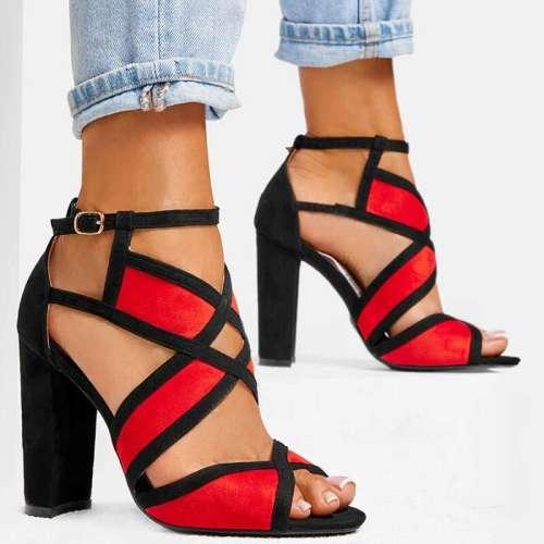 Women Hit Color Peep Toe Buckle Strap Chunky Heel Sandals