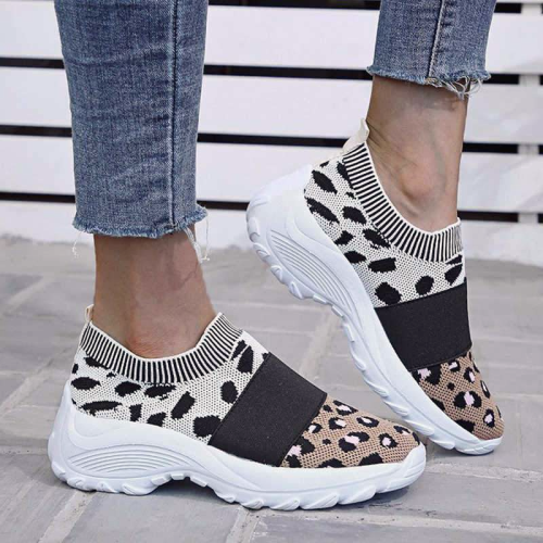Leopard Combination Elastic Slip On Platform Sneakers