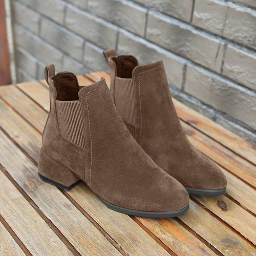 Suede Round Toe Martin Boots