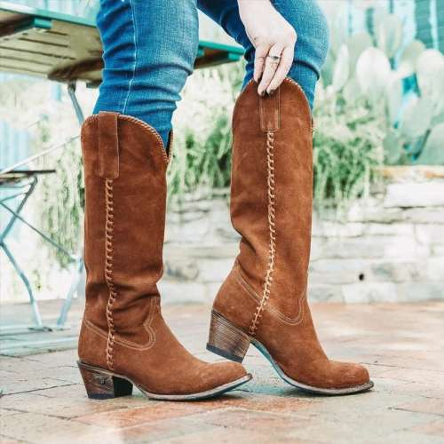 Chunky Heel Suede Boots