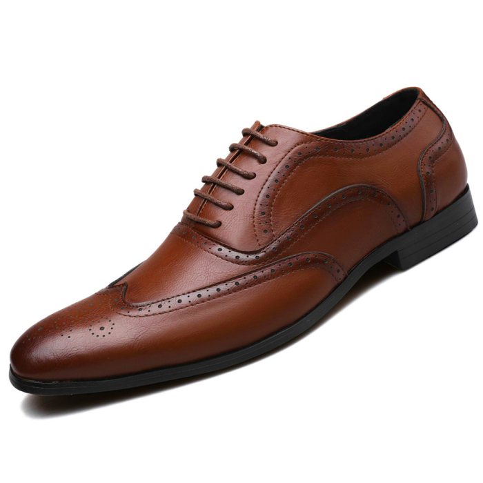 Men's Bullock PU Leather Carved Business Dress Shoes
