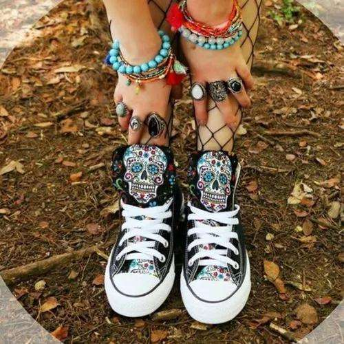 Women's Lace-up Flats Canvas Sneakers