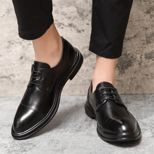 Men Retro Microfiber Leather Non Slip Business Casual Formal Shoes