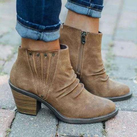 Block Heel Casual Rivet Boots