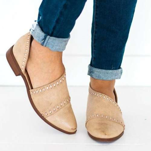 *Osmond Stitch Detailed Flats Shoes