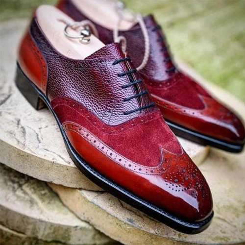 Unique Design Suede and Leather Splicing Men Brogue Shoes