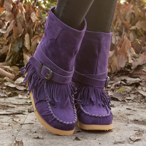 Fashion Fringed Flat Ethnic Style Cotton Boots
