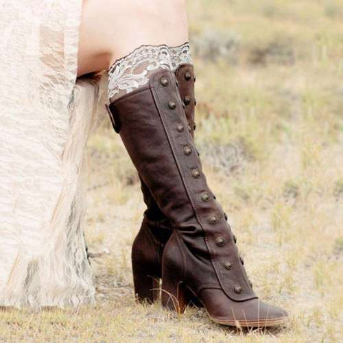 *Women Vintage Medieval Boots Retro Cosplay High Martin Boots