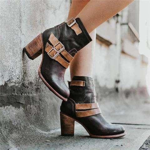 *Vintage Stacked Heel Booties Adjustable Buckle Chunky Heel Casual Boots