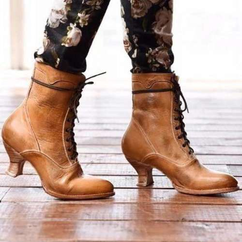Lace-Up Low Heel Women Boots