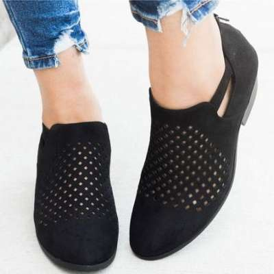 *Hollow-out Block Heel Ankle Booties Casual Low Heel Pumps