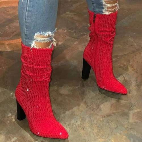 Diamond High Top Zipper Heel Boots