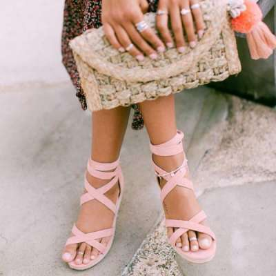 Women's wedge suede strap sandals