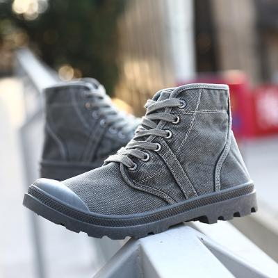 Plain Lace-Up Front Round Toe Platform Canvas Boots
