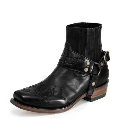 Men's Retro Cowboy Ankle Boots