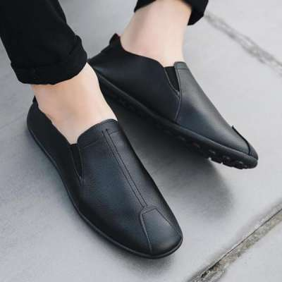 Men Genuine Leather Shoes Slip-On Flats Loafers