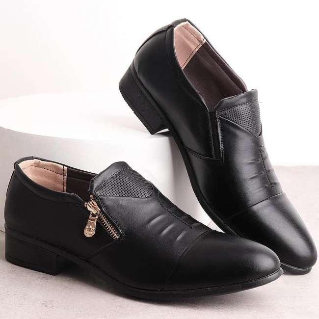 Large Size Men Side Zipper Pointed Toe Slip On Business Formal Shoes