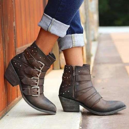 Buckle Shotie Side Zipper Vintage Boots