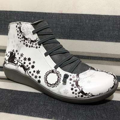 >>Christmas Gift | Side Zipper Ankle Boots Elastic Strap Printed Boot