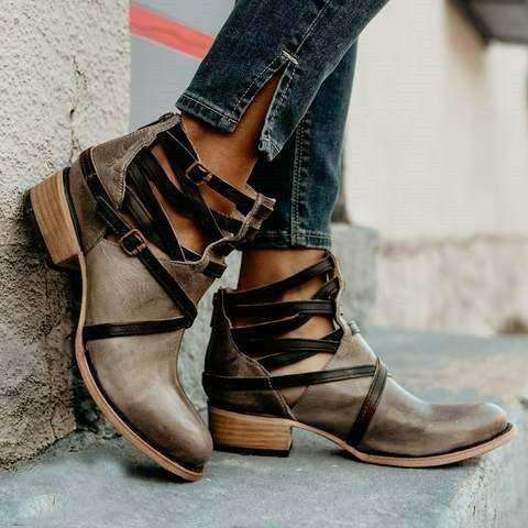 *Vintage Medieval Ankle Boots Casual Zipper Low Heel Boots