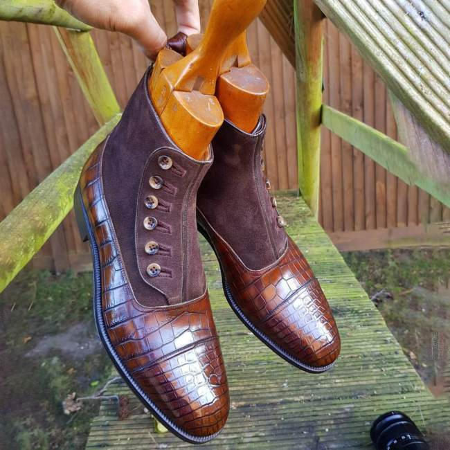 Mens Handmade Boots Crocodile Texture Brown Leather Suede Button Formal Shoes