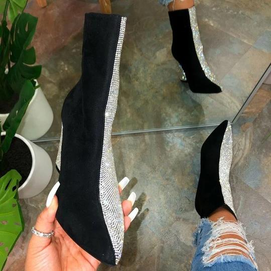 Women's Gorgeous Sparkling Rhinestones Hit Color Split Joint Chunky Heek Boots