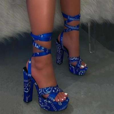 Lace-Up Peep Toe Chunky Heel Ankle Strap Platform Sandals