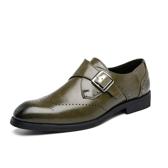 Men Microfiber PU Leather Buckle Formal Shoes