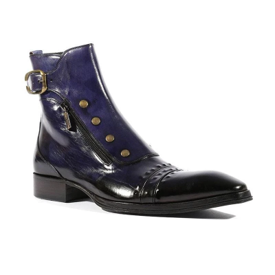 Men's Gentlemen Button Zipper PULeather Ankle Boots
