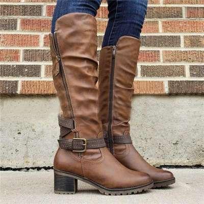Women's PU Vintage Comfy Knee-High Boot