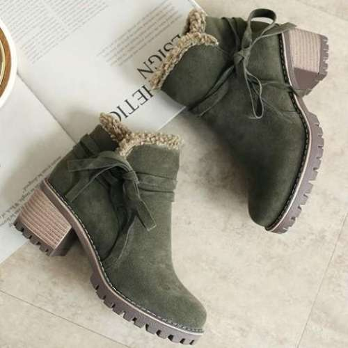 *Female Winter Shoes Fur Warm Snow Boots Chunky Heels Ankle Boots