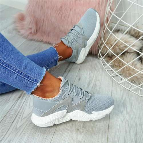 Stylish Platform Mesh Lace Up Sneakers