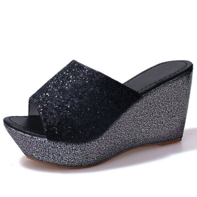 Women Bling High Heel Pumps Mules Wedge Sandals