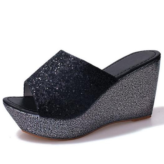 Women Bling High Heel Pumps Mules Wedge Sandals