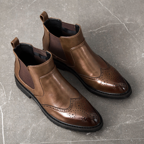 Men PU Leather Brogue Chelsea Boot