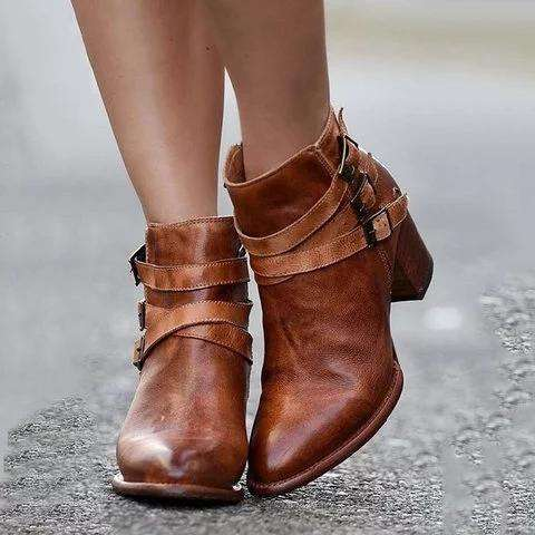 *Women Ankle Boots Chunky Heel Back Zipper Casual Short Booties
