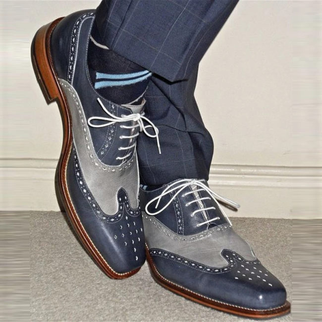 Handmade Men Two Tone Wing Tip Brogue Formal Shoes
